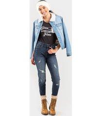 women's max destructive dark rinse skinny jeans in denim by francesca's - size: 5
