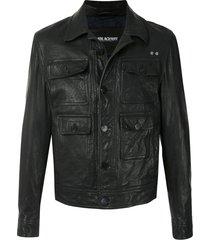 neil barrett travel leather jacket - black