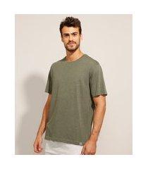 camiseta básica manga curta gola careca verde militar