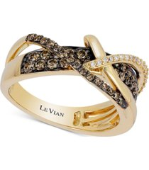 le vian chocolatier gladiator weave diamond crisscross ring (5/8 ct. t.w.) in 14k gold