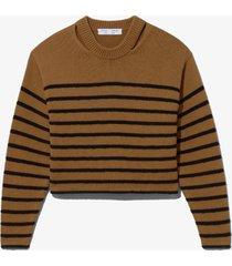 proenza schouler white label bouclé stripe sweater khaki/black/brown l