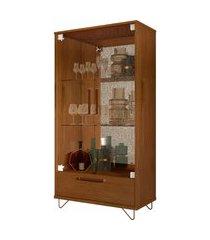 cristaleira jb 4045 luxo caramelo madeira móveis jb bechara marrom