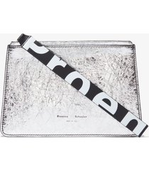 proenza schouler metallic small pouch silver one size