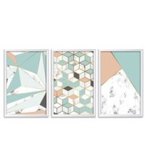 conjunto kit 3 quadro oppen house s 60x120cm escandinavo skadi com vidro e moldura branca      quadro oppen house s decorativos