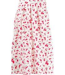 hvn cherry-print pleated skirt - white