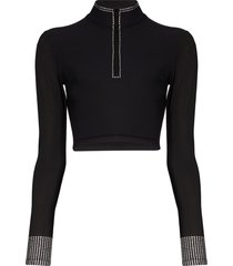 adam selman sport long sleeve crystal crop top - black