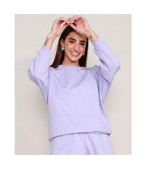 blusão amplo de moletom básico decote redondo lilás