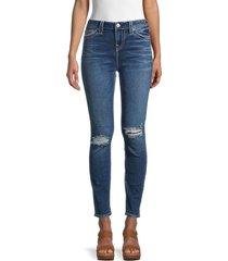 true religion women's halle distressed super skinny-fit jeans - dark wash - size 24 (0)