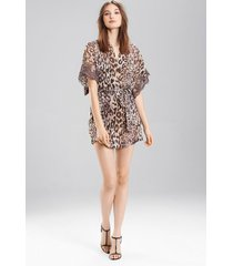 shadow leopard short sleeves sleep/lounge/bath wrap / robe, women's, grey, 100% silk, size l, josie natori