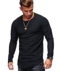 moda cuello redondo delgado de manga larga camiseta hombres-negro