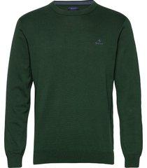 classic cotton c-neck stickad tröja m. rund krage grön gant
