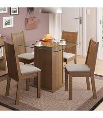 conjunto sala de jantar madesa lucy mesa tampo de vidro com 4 cadeiras marrom - marrom - dafiti