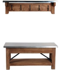 alaterre furniture alaterre furniture millwork wood and zinc metal bench with coat hook shelf