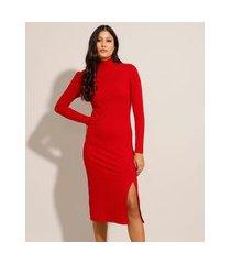 vestido canelado midi com fenda manga longa gola alta vermelho