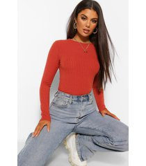 crew neck long sleeve knitted rib top, rust