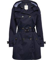 coats woven trenchcoat lange jas blauw esprit casual