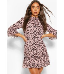 high neck 3/4 sleeve smock dress, rose