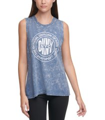 dkny sport acid-washed logo tank top