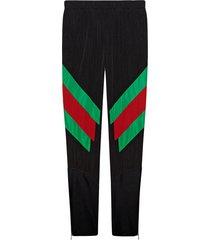 gucci nylon legging with web intarsia - black