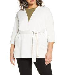 plus size women's eileen fisher tie waist silk & organic cotton cardigan