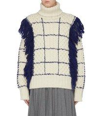 fringe windowpane check cable knit turtleneck sweater