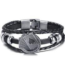 manilla pulsera vintage cuero multicapa trenzada bl-401 poker