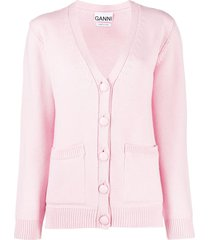 ganni relaxed-fit v-neck cardigan - pink
