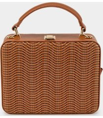 bridget straw hardcase satchel - tan
