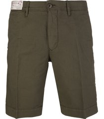 khaki green cotton man bermuda shorts