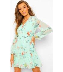 geplooide bloemenprint mini jurk met laag decolleté, green