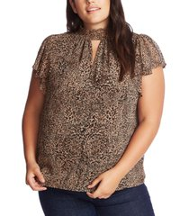 1.state plus size smocked flutter-sleeve top