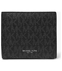 mk portafoglio a libro greyson con logo e tasca per monete - nero (nero) - michael kors
