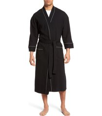men's big & tall majestic international waffle knit robe, size 6xb - black