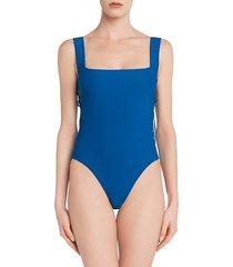 la perla women's mediterraneo one-piece swimsuit - blue - size 32 b