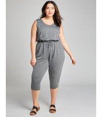 lane bryant women's livi striped jumpsuit 22/24 black striped