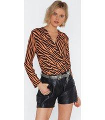 womens fierce female tiger plunging bodysuit - orange