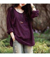 zanzea nueva camisa otoño de la llegada de las mujeres blusas flojas ocasionales de las tapas o-cuello del algodón de la manga camisas más el tamaño (púrpura) -púrpura