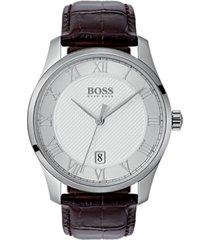 boss hugo boss men's master brown leather strap watch 41mm
