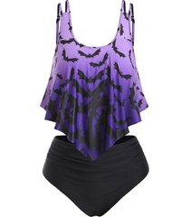 plus size halloween ombre color bat print tankini swimwear
