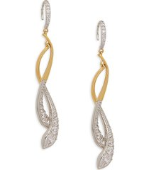 adriana orsini women's rhodium-plated & goldplated sterling silver & crystal drop earrings