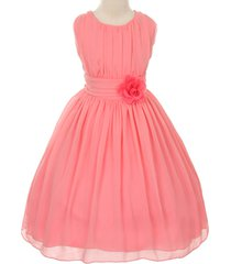 coral round neck yoryu chiffon flower girl dresses bridesmaid birthday wedding