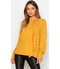 geweven blouse met strik en knoop, mustard