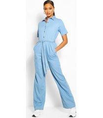 tie waist light weight denim jumpsuit, light blue