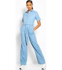 tie waist light weight denim jumpsuit, light blue