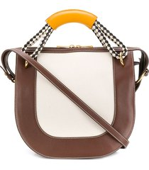 marni bonnie diamond-pattern handle handbag - neutrals