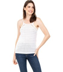 tricã´ blusa regata pink tricot alã§a branco - branco - feminino - dafiti