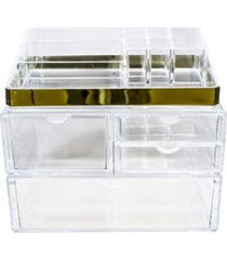 sorbus cosmetics makeup and jewelry storage case display sets with trim