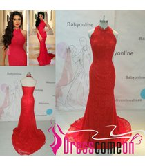elegant prom dress,red evening dress,high neck evening gown,party dresses