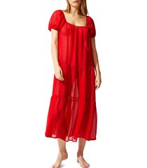 solid and striped women's the robin tiered dress - sheer red - size l