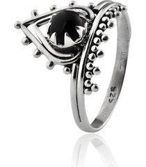anel de prata sal do mar triângulo indiano ônix